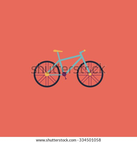 Bicycle. Colorful vector icon. Simple retro color modern illustration pictogram. Collection concept symbol for infographic project and logo - stock vector