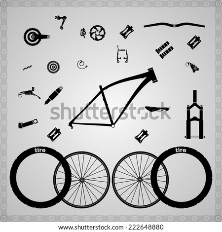 Bicycle components of different types. - stock vector