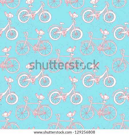 bicycle doodle seamless pattern - stock vector