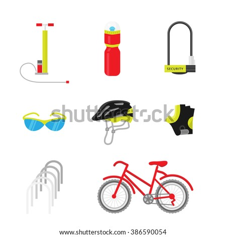 Bicycle equipment icon vector set. Bike and glove, sunglasses  and uniform cyclist illustration. Red black bike equipment icon for sport - stock vector