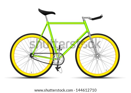 Bicycle fixed gear. light green with yellow