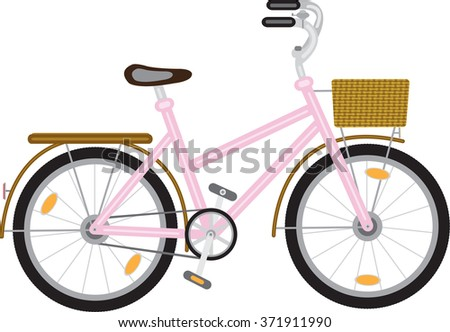 bicycle for a girl with a basket at the helm of pink - stock vector