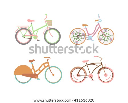 Bicycle for girls with a basket retro design vector. Flat retro girls bicycle cute set and girls summer vintage bicycle. Girls bicycle retro design and ride sport girls beautiful cute bicycle. - stock vector