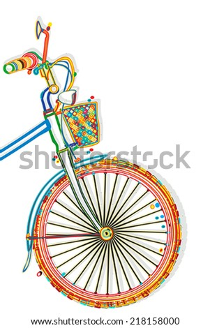 Bicycle funky style template with copy space - stock vector