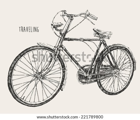 bicycle high detail, traveling engraving vintage vector illustration, hand drawn - stock vector