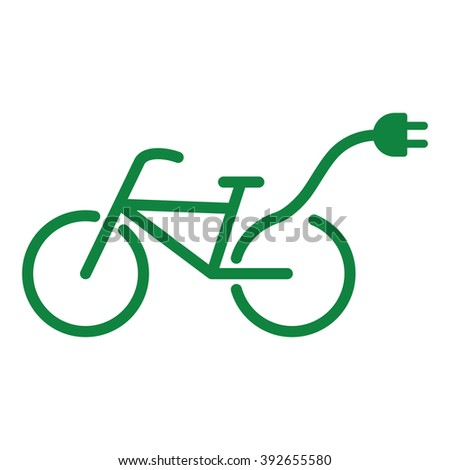 bicycle icon electric plug - stock vector