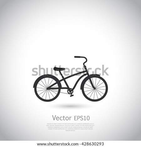 Bicycle  icon  on gray background. Vector illustration.