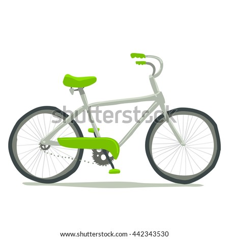 Bicycle icon. Vector hand drawn illustration of tiny cute green bicycle. For ui, games, and patterns.