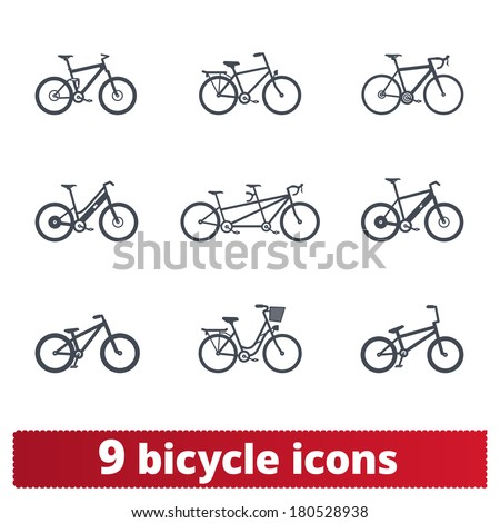 Bicycle icons: vector set of different bike signs - stock vector