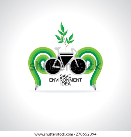 bicycle idea green save environment vector illustration  - stock vector