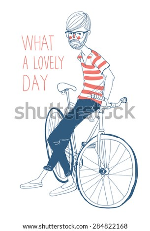 Bicycle Illustration WIth Hipster Man Character - stock vector