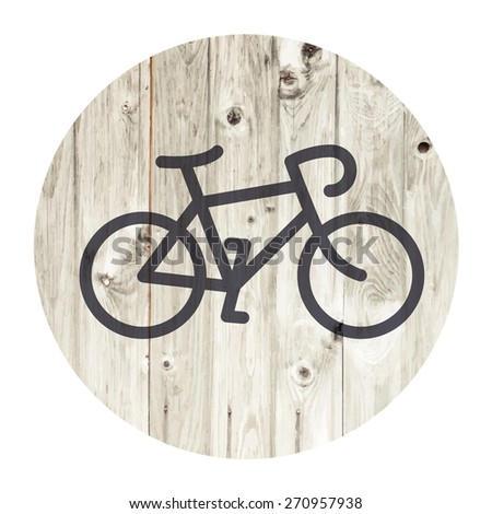 Bicycle minimalistic icon on aged wooden wall background - stock vector