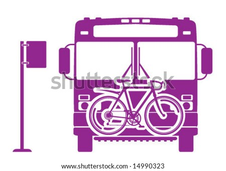 Bicycle on Bus - stock vector