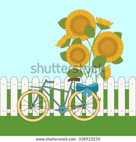 Bicycle on the background of the fence and sunflowers - stock vector