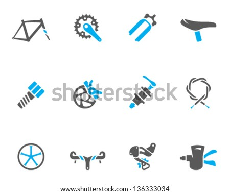 Bicycle part icons series  in duo tone colors - stock vector