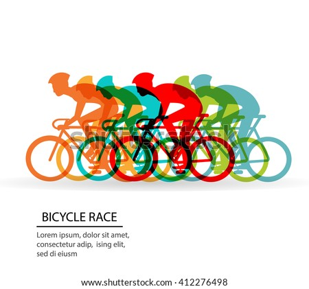 Bicycle Race. Cyclists competing. Bicycle marathon. Bicycle race concept. Bicycle race web. Bicycle race outdoor. Bicycle racer. Bicycle race sign. Bicycle adventure. Bicycle courier. Bicycle travel. - stock vector