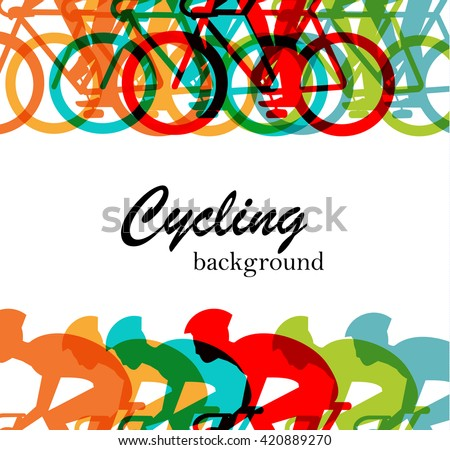 Bicycle race or cycling  background, vector illustration. With cyclists riding bikes - stock vector