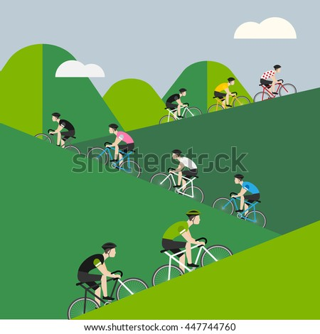 Bicycle race up to the mountain.