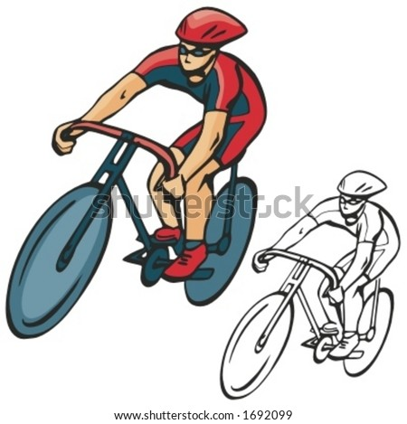 Bicycle rider. Vector illustration - stock vector