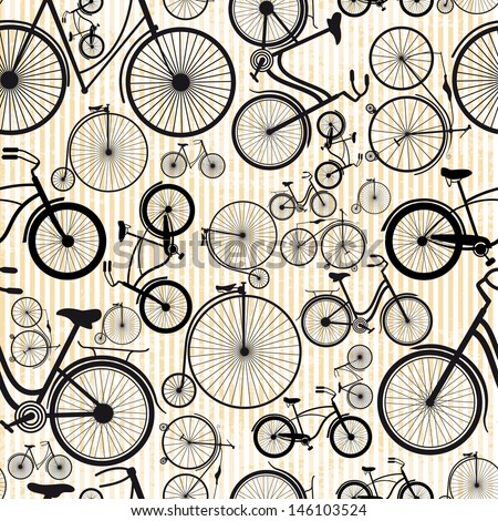 Bicycle seamless pattern - stock vector
