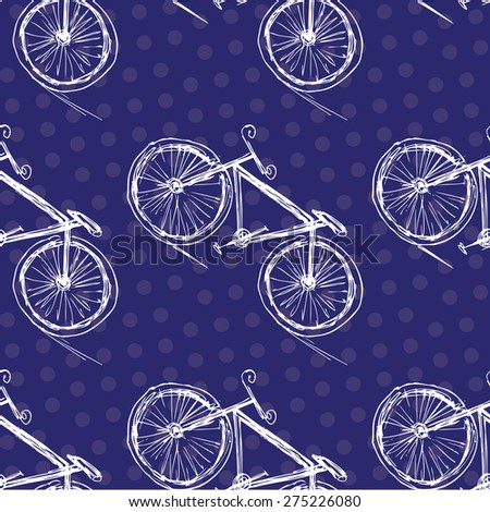 Bicycle seamless pattern on a colored background . Hand drawing.Seamless pattern can be used for wallpaper, pattern fills, web page backgrounds, surface textures. - stock vector
