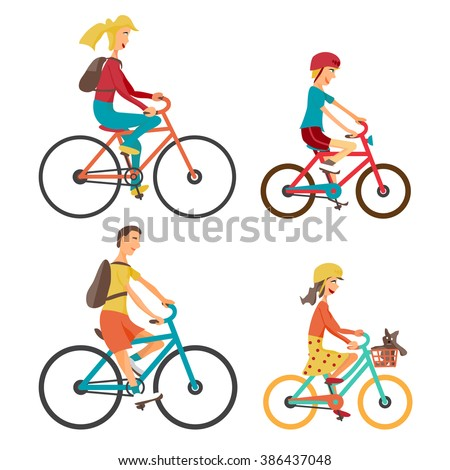 Bicycle Set for family ride. Set man, woman, boy and girl on bicycle on an isolated white background. Bike for man, woman, boy, girl. Vector flat cartoon illustration