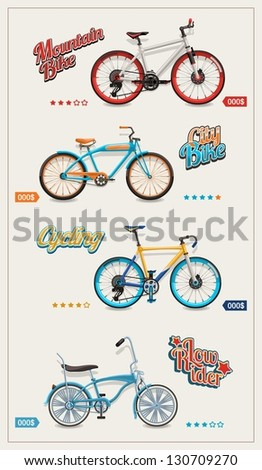bicycle set, vector background - stock vector