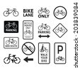 bicycle signs black and white set vector - stock photo