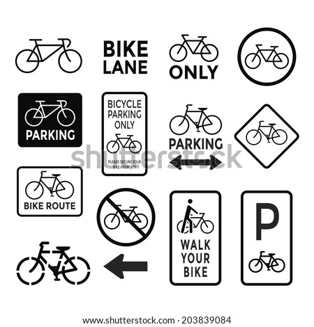 bicycle signs black and white set vector - stock vector