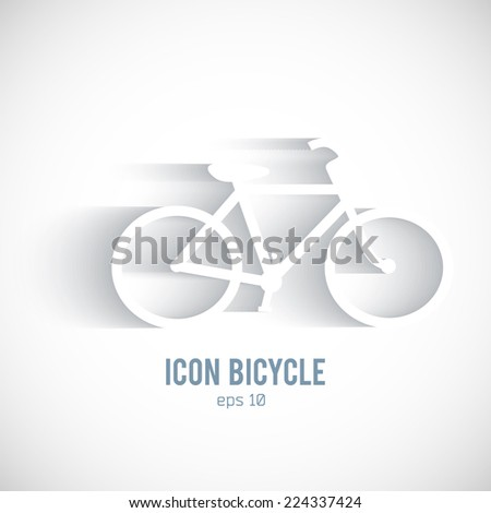 Bicycle silhouette icon on white background with shadow. Healthy lifestyle, cycling sport and wellness concept. Vector illustration eps 10  - stock vector