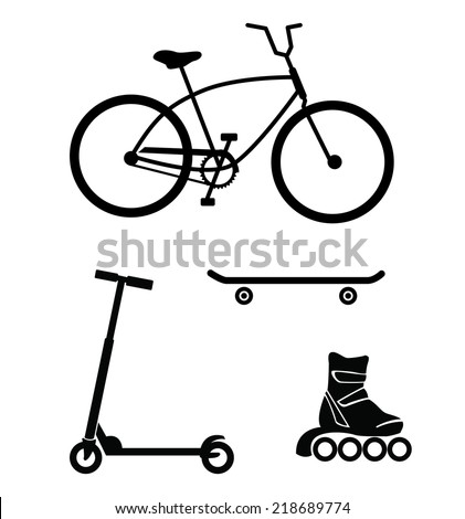 Bicycle, skateboard, roller skate, scooter - wheeled devices for sport and recreation, vector silhouettes isolated on white background - stock vector