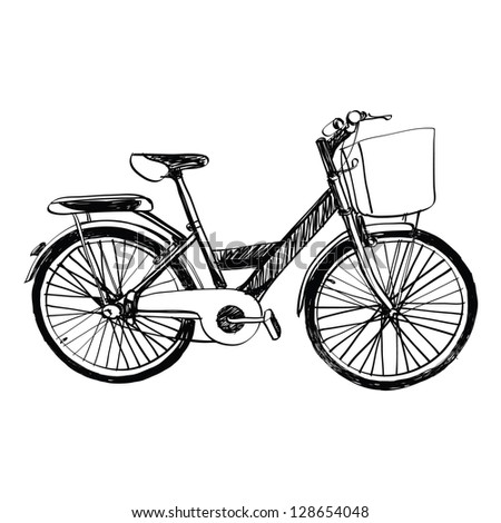 bicycle - sketch illustration hand drawn. - stock vector
