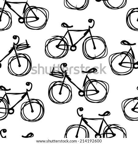 Bicycle sketch, seamless pattern for your design - stock vector