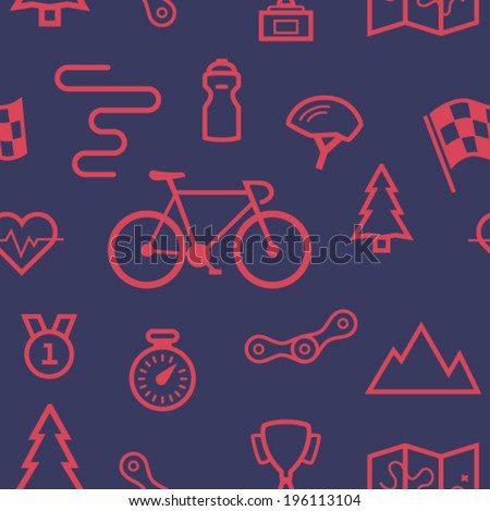 Bicycle sport seamless pattern with sport road racing bike, finish flag, track, golden cup and medal