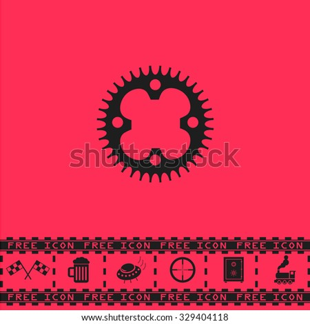 Bicycle sprocket. Black flat vector icon and bonus symbol - Racing flag, Beer mug, Ufo fly, Sniper sight, Safe, Train on pink background - stock vector