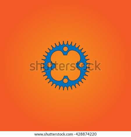 Bicycle sprocket. Blue flat icon with black stroke on orange background. Collection concept vector pictogram for infographic project and logo - stock vector