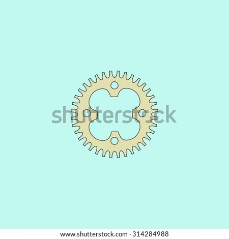 Bicycle sprocket. Flat simple line icon. Retro color modern vector illustration pictogram. Collection concept symbol for infographic, logo and project - stock vector