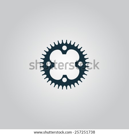 Bicycle sprocket. Flat web icon, sign or button isolated on grey background. Collection modern trend concept design style vector illustration symbol - stock vector