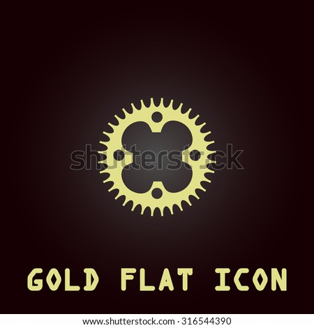 Bicycle sprocket. Gold flat vector icon. Symbol for web and mobile applications for use as logo, pictogram, infographic element - stock vector