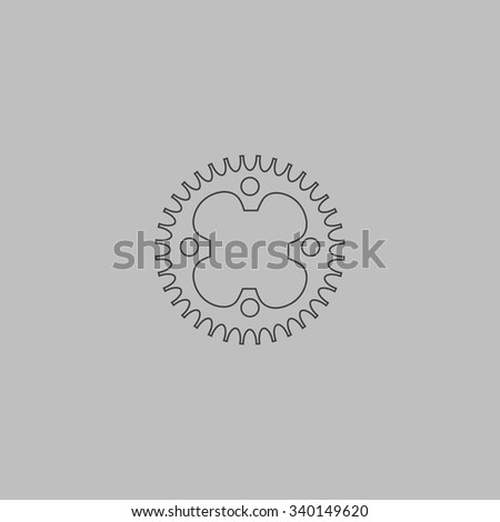 Bicycle sprocket. Outlne vector icon on grey background - stock vector