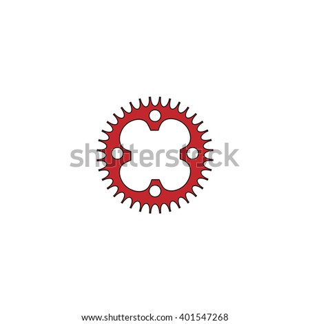 Bicycle sprocket. Red flat simple modern illustration icon with stroke. Collection concept vector pictogram for infographic project and logo - stock vector