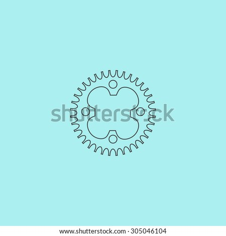 Bicycle sprocket. Simple outline flat vector icon isolated on blue background - stock vector