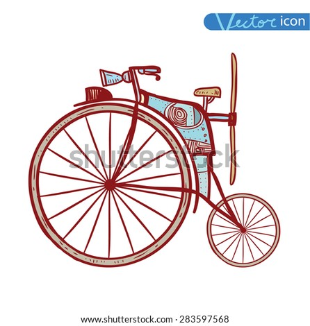 Bicycle Steampunk style, hand drawn vector illustration. - stock vector