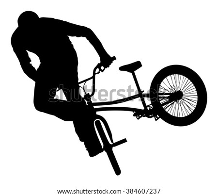 Bicycle stunts vector silhouette isolated on white background. Bike performance. exercising acrobatic figure.