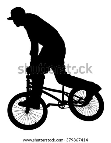 Bicycle stunts vector silhouette isolated on white background. Bike performance . exercising bmx acrobatic figure. - stock vector
