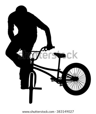 Bicycle stunts vector silhouette isolated on white background. Bike performance. exercising bmx acrobatic figure.