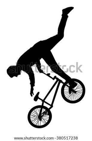 Bicycle stunts vector silhouette isolated on white background. Bike performans. exercising bmx acrobatic figure.