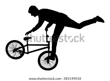 Bicycle stunts vector silhouette isolated on white background. Bike performans. exercising bmx acrobatic figure. - stock vector