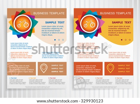 Bicycle symbol on abstract vector brochure template. Flyer layout. Flat style.