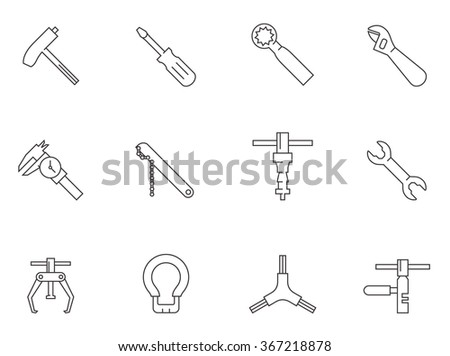 Bicycle tool icons in outline style - stock vector